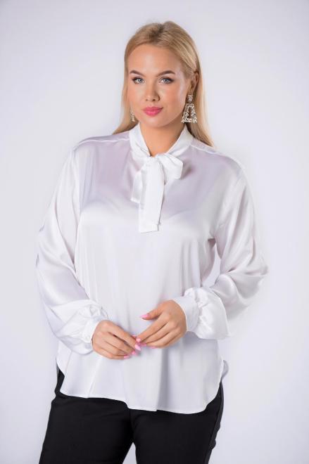 IMIOŁCZYK  satynowa koszula z wiązaniem przy szyi M82628 Блузка Кремовый оптом
