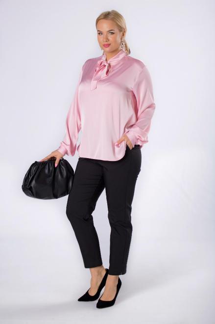 WAXIMA  satynowa koszula z wiązaniem przy szyi M82628 Блузка Розовый оптом