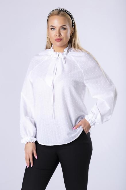 IMIOŁCZYK  bawełniana koszula z wiązaniem przy szyi M82636 Блузка Белый оптом