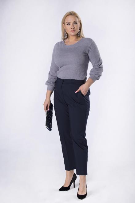 IMIOŁCZYK  eleganckie spodnie cygaretki z nogawkami w kant i brokatową gumką w pasie M82629 Брюки Темносиний оптом