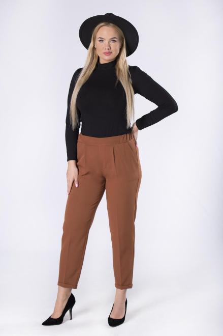 IMIOŁCZYK  eleganckie spodnie cygaretki z nogawkami w kant i gumką w pasie M82637 Брюки Коричневый оптом