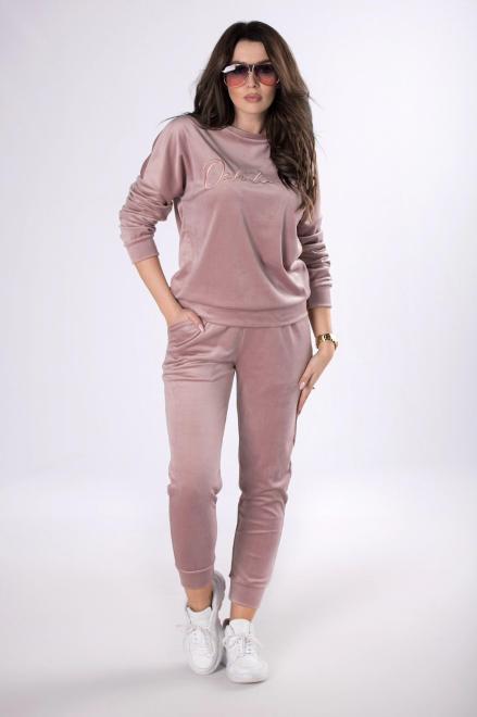 OOH LA LA  welurowy dres o prostym kroju  M82292 Трикотажные брюки Фиолетовый оптом