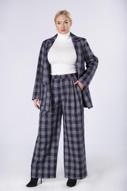 IMIOŁCZYK  elegancki garnitur damski w kratę  M82635  Темносиний оптом