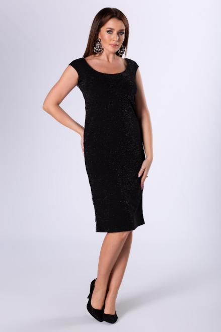 AMADEO  brokatowa sukienka z lampasami M82310 Платье Черный оптом