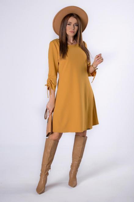 MODA DOROTHY  sukienka o kroju litery A z marszczniem przy rękawach M76021 Платье Желтый оптом