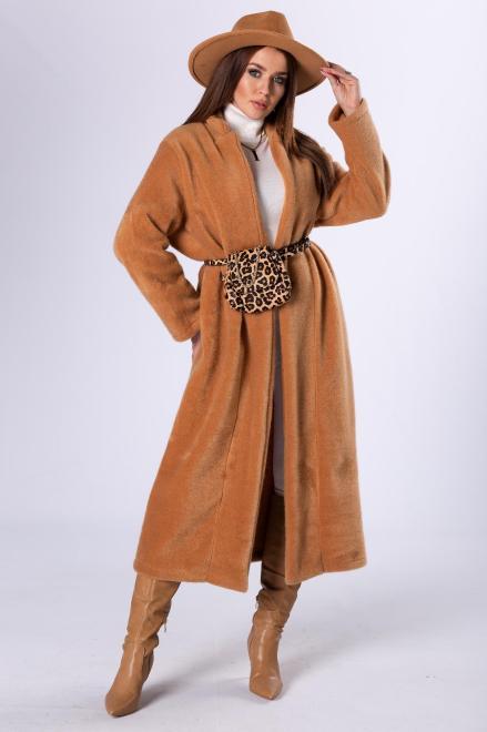 Rivabella  futerkowy płaszcz o dłużyszm kroju M82670 Плащ Коричневый оптом