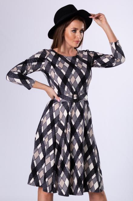 LA TOYA  rozkloszowana sukienka z paskiem M81916 Платье Multikolor оптом