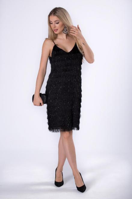 KMX FASHION  sukienka z połyskującymi frędzelkami M76298 Платье Черный оптом