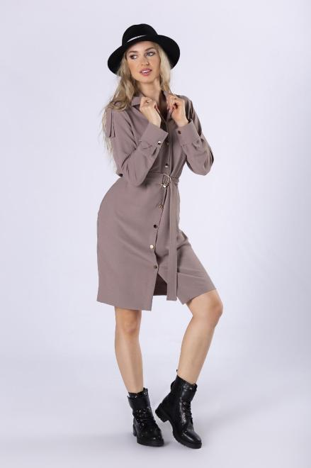 MERSI  sukienka szmizjerka z paskiem M82778 Платье Бежевый оптом
