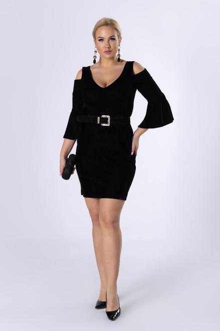 STELLA VERA  welurowa sukienka z rozcięciami na ramionach i wiązaniem na plecach M80652 Платье Черный оптом