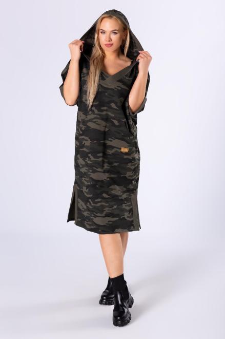 IMIOŁCZYK  sportowa sukienka z kapturem i dekoltem w serek M82633 Платье Зеленый оптом