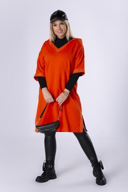 IMIOŁCZYK  sportowa sukienka z kapturem i dekoltem w serek M82633 Платье Оранжевый оптом