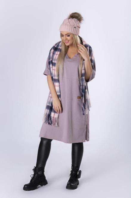 IMIOŁCZYK  sportowa sukienka z kapturem i dekoltem w serek M82633 Платье Фиолетовый оптом