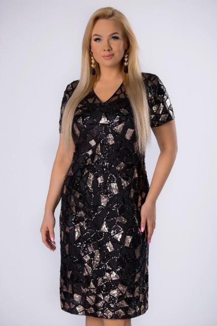 KMX FASHION  cekinowa sukienka o dopasowanym kroju M82134 Платье Черный оптом