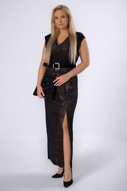 KMX FASHION  połyskująca sukienka maxi z ozdobnymi plisowaniami M82137 Платье Черный оптом