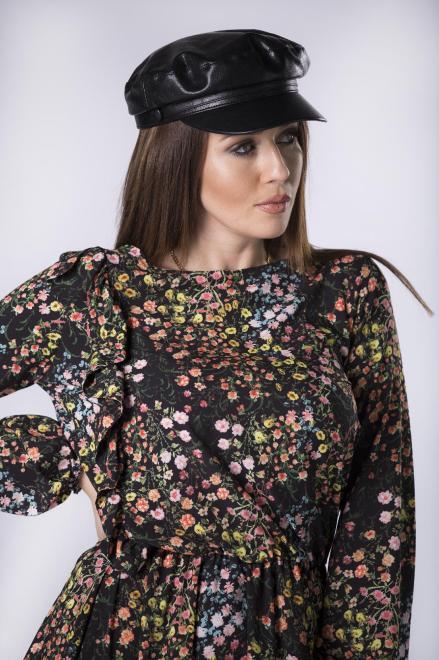 MERSI  wzorzysta sukienka z bufiastymi rękawami i falbaną na biuście M82817 Платье Черный оптом