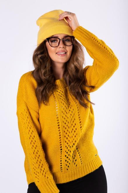 sweter z ażurowymi przeszyciami M82238 Свитер Желтый оптом