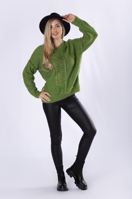 LA BLANCHE  sweter z ażurowymi przeszyciami M82238 Свитер Зеленый оптом