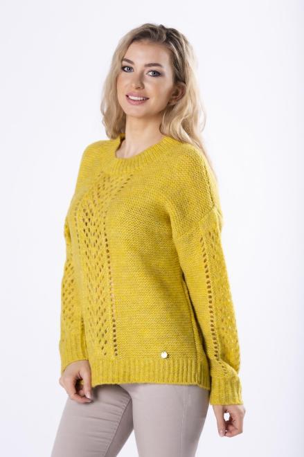 MODA DOROTHY  sweter z ażurowymi przeszyciami M82238 Свитер Желтый оптом