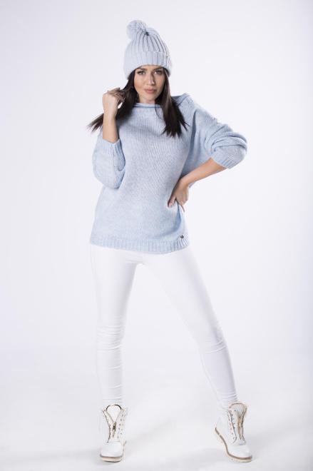 sweter z dekoltem w łódkę M82237 Свитер Голубой оптом