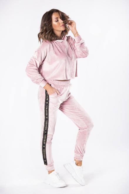 welurowy dres z lampasami M81089 Трикотажные брюки Розовый оптом