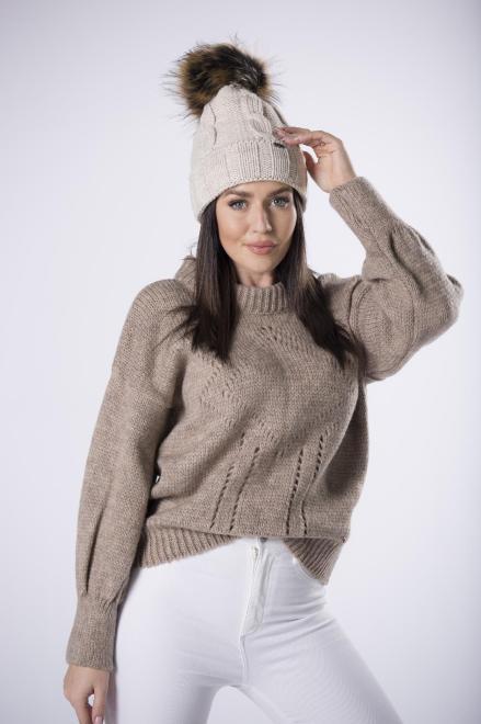 MODA DOROTHY  sweter z ażurowymi przeszyciami i bufiastymi rękawami M82693 Свитер Бежевый оптом