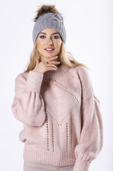 OPAL  sweter z ażurowymi przeszyciami i bufiastymi rękawami M82693 Свитер Розовый оптом