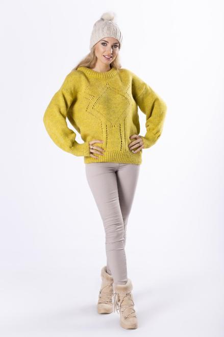 OPAL  sweter z ażurowymi przeszyciami i bufiastymi rękawami M82693 Свитер Желтый оптом