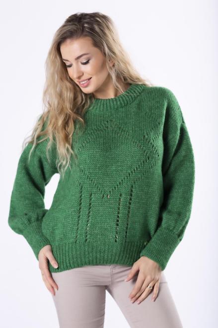 OPAL  sweter z ażurowymi przeszyciami i bufiastymi rękawami M82693 Свитер Зеленый оптом