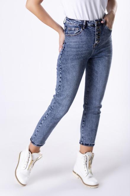 dopasowane spodnie jeansowe z ozdobnymi guzikami M82841 Брюки Голубой оптом