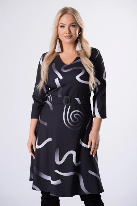 MODA DOROTHY  rozkloszowana sukienka w graficznym print z paskiem i dekoltem w serek M82813 Платье Черный оптом