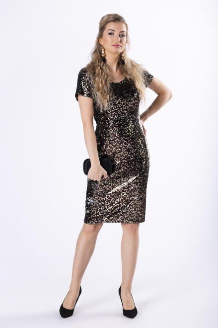KMX FASHION  cekinowa sukienka z krótkim rękawem M82129 Платье Multikolor оптом