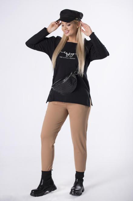 EXCLUSIVE  dresowe spodnie ze ściągaczem w pasie M82419 Брюки Бежевый оптом