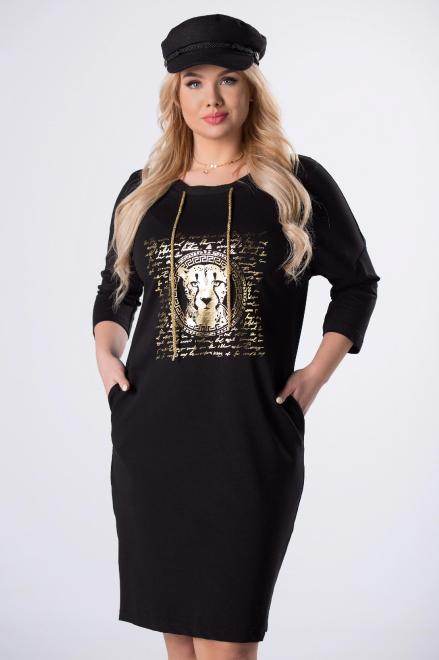 MADAM TRIS  bawełniana sukienka z nadrukiem na biuście i ściągaczem przy szyi M82255 Платье Черный оптом