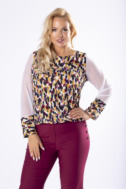 M&M  wzorzysta bluzka z tiulowymi rękawami M76827 Блузка Multikolor оптом