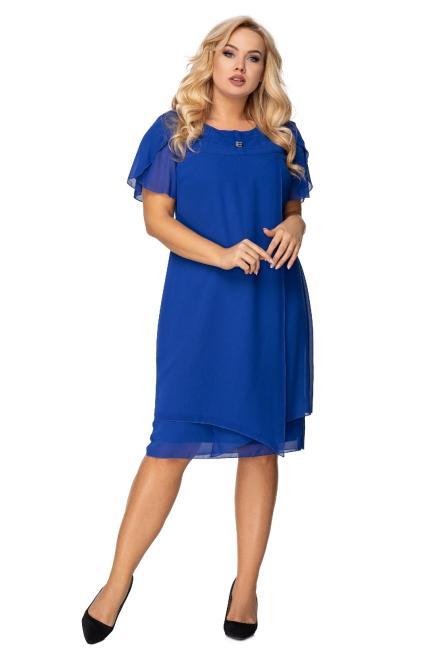 IZEE  tiulowa sukienka z krótkim rękawem i błyszczącą aplikacją przy dekolcie M75873 Платье Голубой оптом