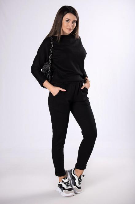 OOH LA LA  dzianinowy komplet dresowy M82985 Трикотажные брюки Черный оптом