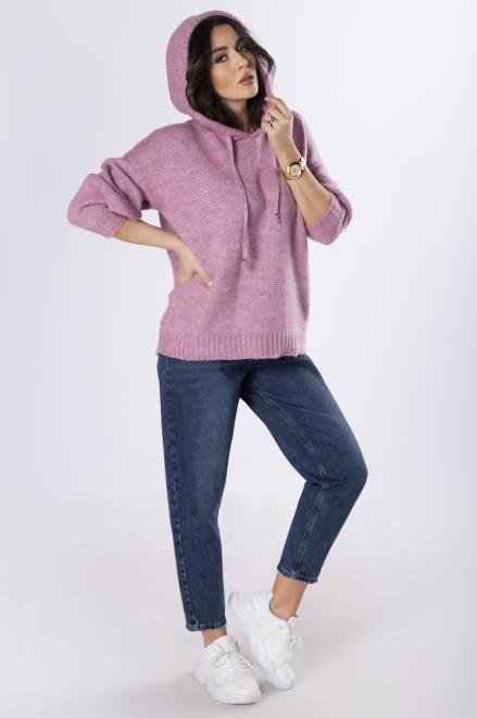 NATI  sweter z kapturem M82988 Свитер Розовый оптом