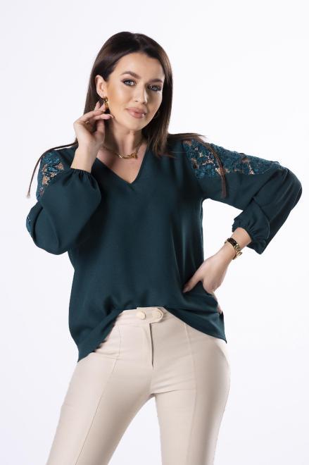 Bien Fashion  bluzka z koronką na rękawach M83027 Блузка Зеленый оптом