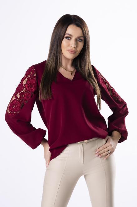 Bien Fashion  bluzka z koronką na rękawach M83026 Блузка Бордовый оптом