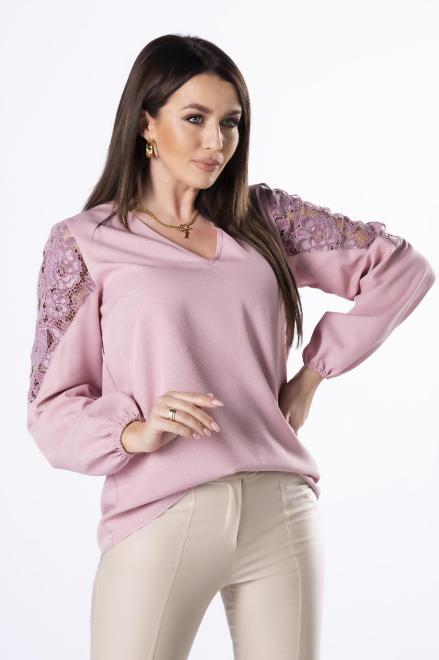 Bien Fashion  bluzka z koronką na rękawach M83028 Блузка Розовый оптом