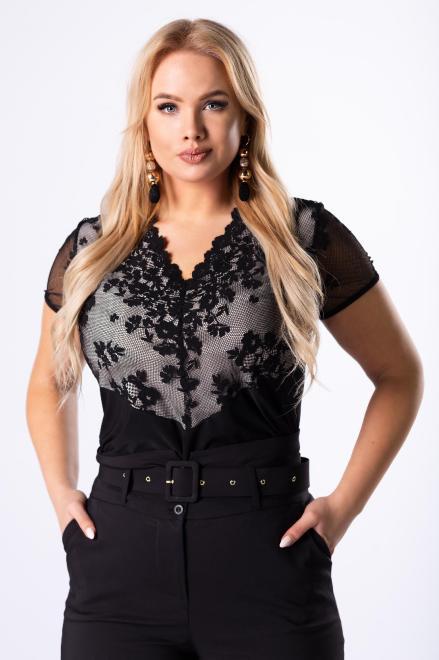 WAXIMA  dopasowana bluzka z koronkową wstawką na biuście M42939 Блузка Черный оптом