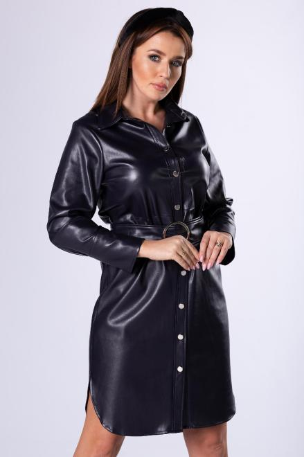 MERSI  sukienka szmizjerka z imitacji skóry M82783 Платье Фиолетовый оптом