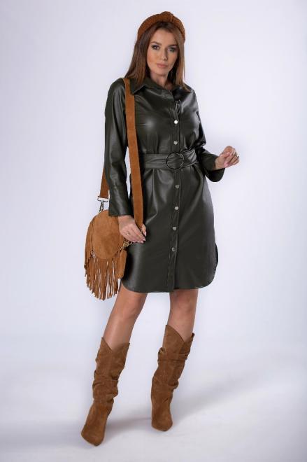 MERSI  sukienka szmizjerka z imitacji skóry M82783 Платье Зеленый оптом