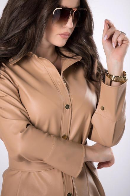 MERSI  sukienka szmizjerka z imitacji skóry M82783 Платье Бежевый оптом