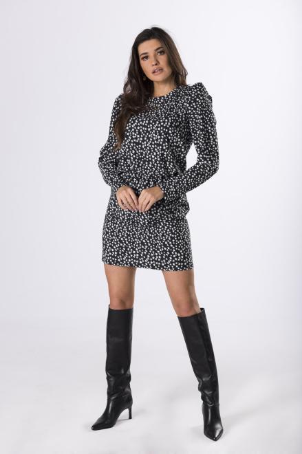 OOH LA LA  sukienka z bufkami M83076 Платье Черный оптом