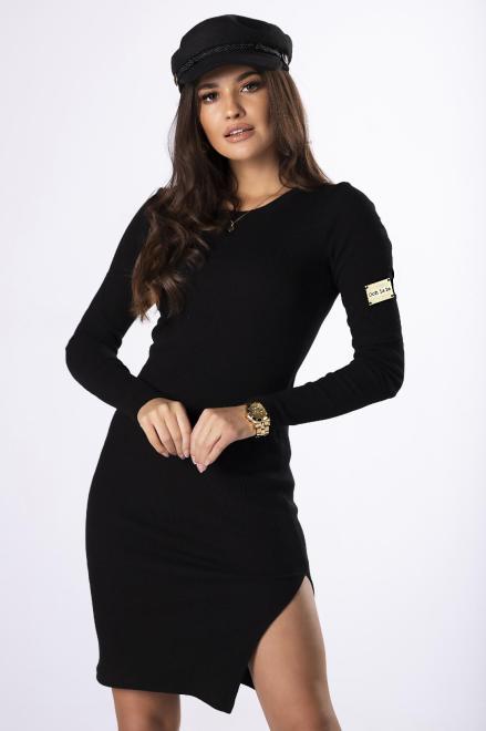 OOH LA LA  prążkowana sukienka z długim rękawem M83107 Платье Черный оптом