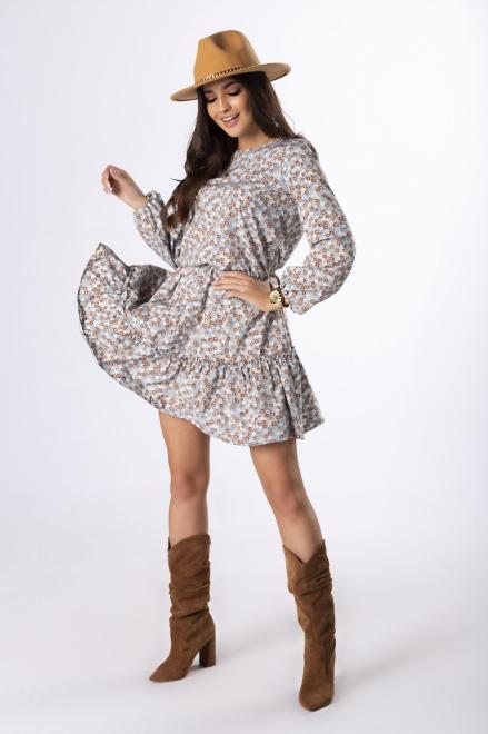 MERSI  sukienka z falbaną na biuście M83116 Платье Голубой оптом