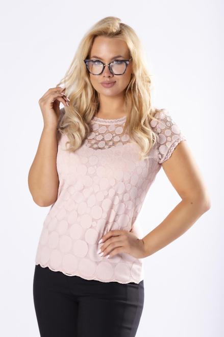 WAXIMA  dopasowana bluzka z koronkowym przodem M30245 Блузка Розовый оптом