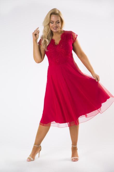 STELLA VERA  tiulowa sukienka midi z koronkową górą M80663 Платье Красный оптом